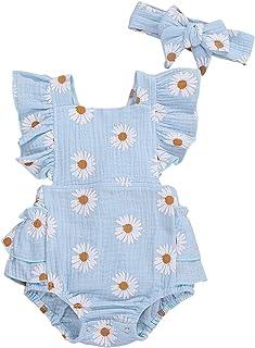 Baby Girls Daisy Playsuits Ruffled Bodysuit+Headband...