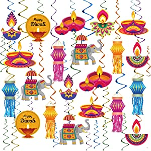 Happy Diwali Hanging Swirls Party Decoration Supplies - Festival of Lights Deepavali Hanging Decoration Kit for Home