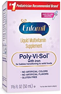 Enfamil Poly-Vi-Sol Multivitamin Supplement Drops with Iron for Infants and Toddlers, 50 mL (Pack of 2)