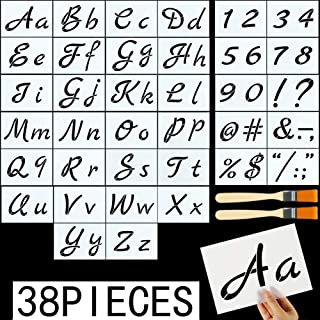 8.27x5.87 Kissbuty 40 Pcs Alphabet Stencils with Calligraphy Font Upper and Lowercase Letters Reusable Plastic Art Craft Templates with Numbers and Signs Letter Stencils for Painting on Wood