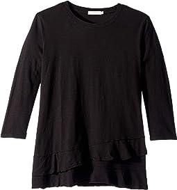 Slub Jersey 3/4 Sleeve Asymmetrical Flounce Hem Tee