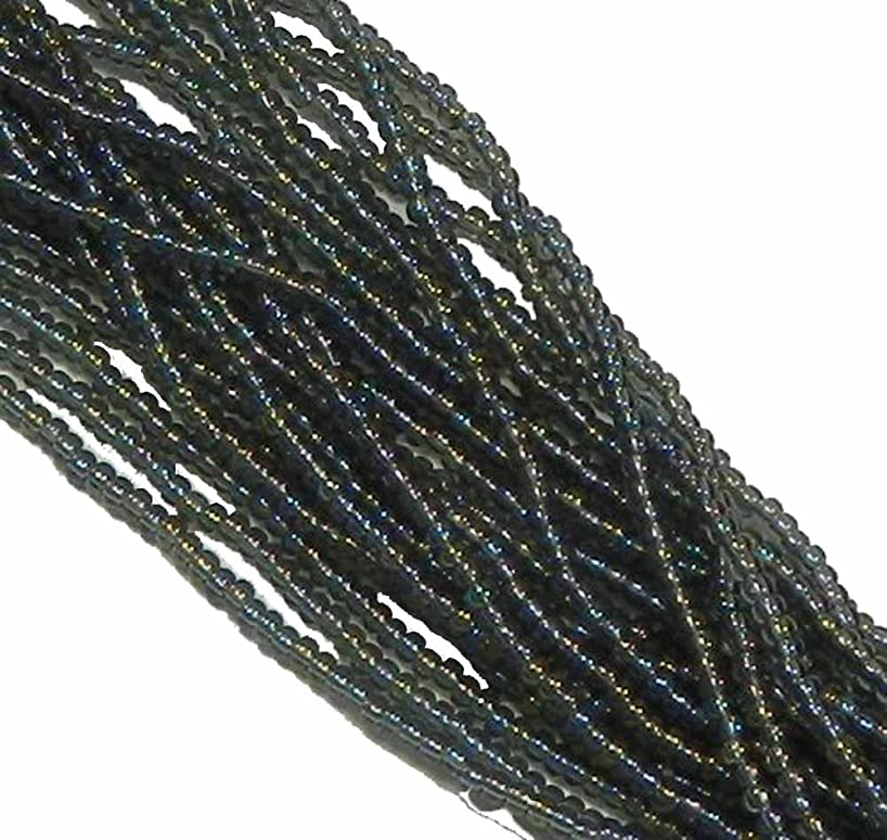 Black Diamond AB (Smoke) Transparent Czech 6/0 Seed Bead on Loose Strung 6 String Hank Approx 900 Beads