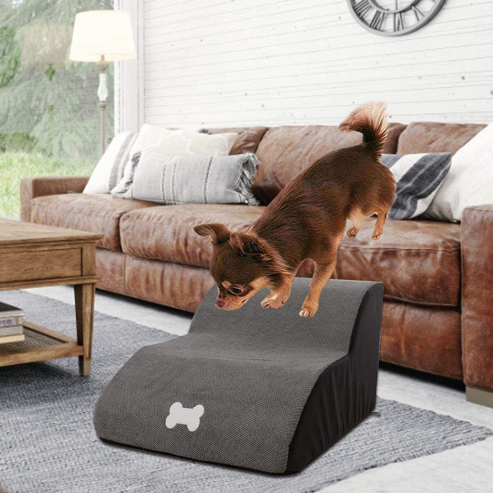 Washable Cover Multiple Colors heirao4072 Pet Steps Stairs Soft Foam Non-Skid Pet Step Ladder Dog Cats Stairs Ramp Sofa Bed Couches Ladder For Small Or Older Dog