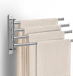 LDUDU Porte-Serviettes pivotant à 180 ° en Acier Inoxydable avec 4 Bras - Simple et élégant