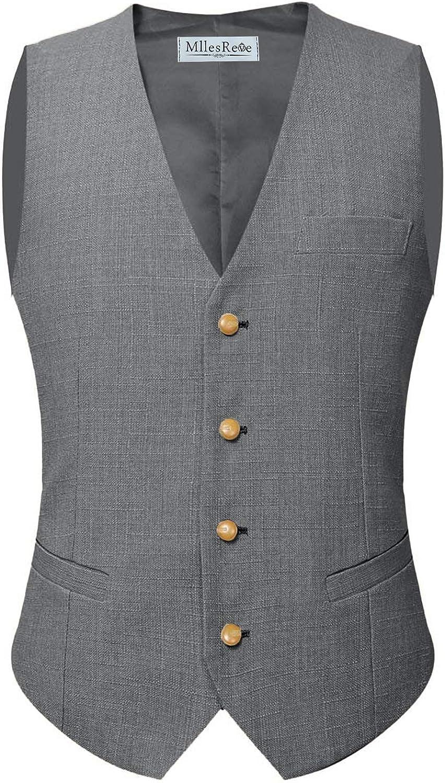 MllesReve Men's Linen Wedding Suit Vest for Grooms Single Breased Waistcoat