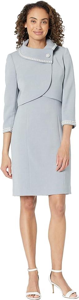 Wrap Crop Pearl Trim Jacket Dress Set