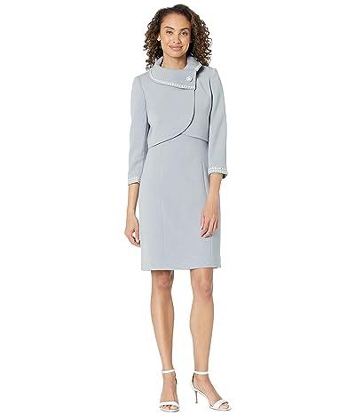 Tahari by ASL Wrap Crop Pearl Trim Jacket Dress Set