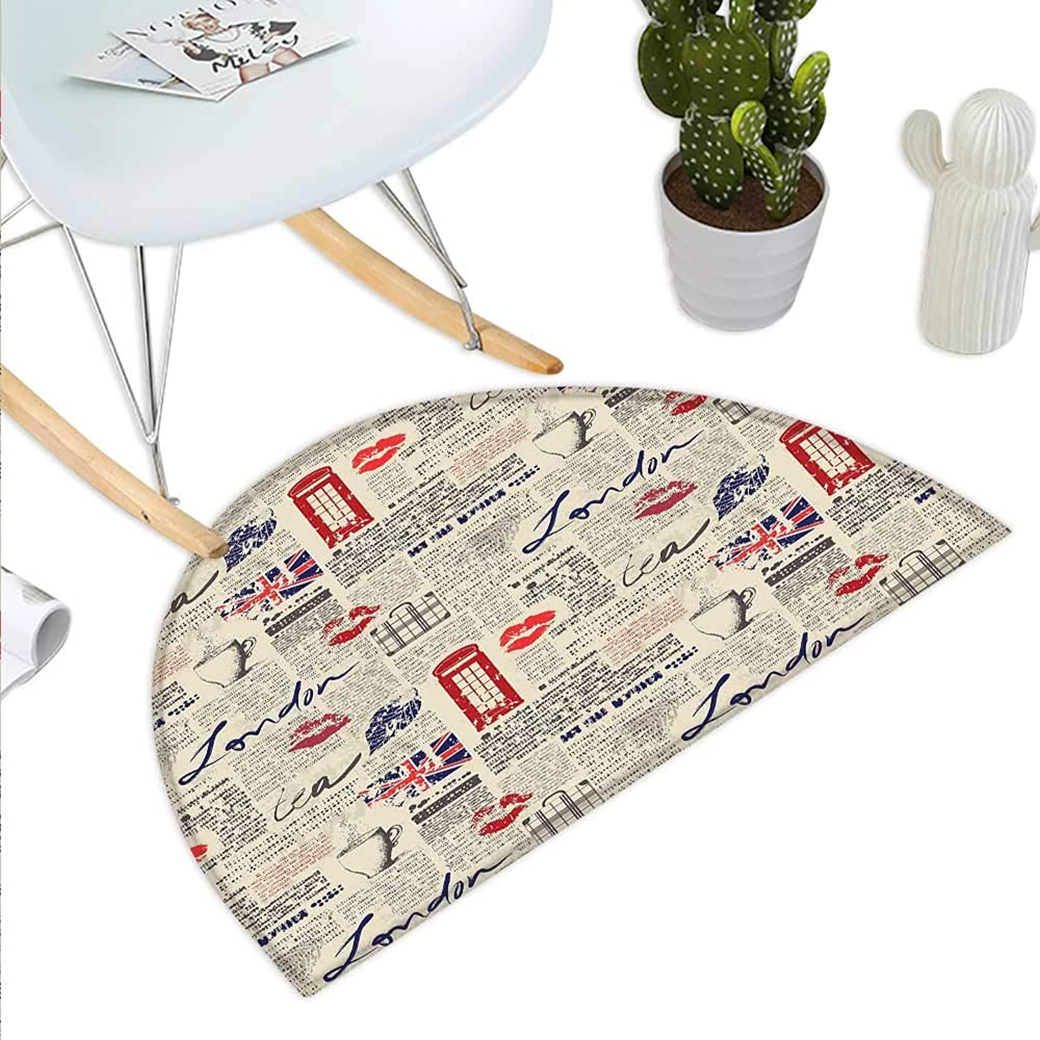 Tea Party Semicircle Doormat London Newspaper Inspired Background with Grunge Elements Kiss Marks Halfmoon doormats H 43.3  xD 64.9  Beige Navy bluee Red