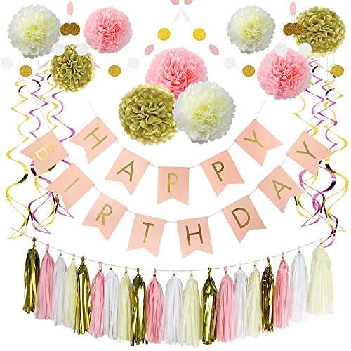 Litaus Pink And Gold Birthday Decorations Happy Banner Paper Flowers Garland