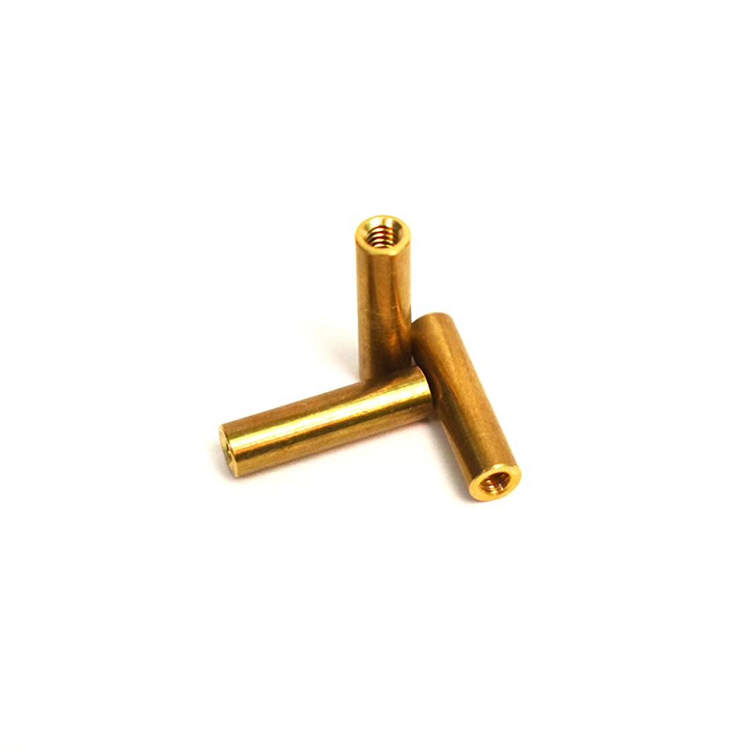[ J&J Products, Inc ] 4-40 Female Brass Spacer Standoff 20pcs, 0.1865 in OD, 0.7165 in Length, Female 4-40 Thread, Round Shape Type, 20 pcs