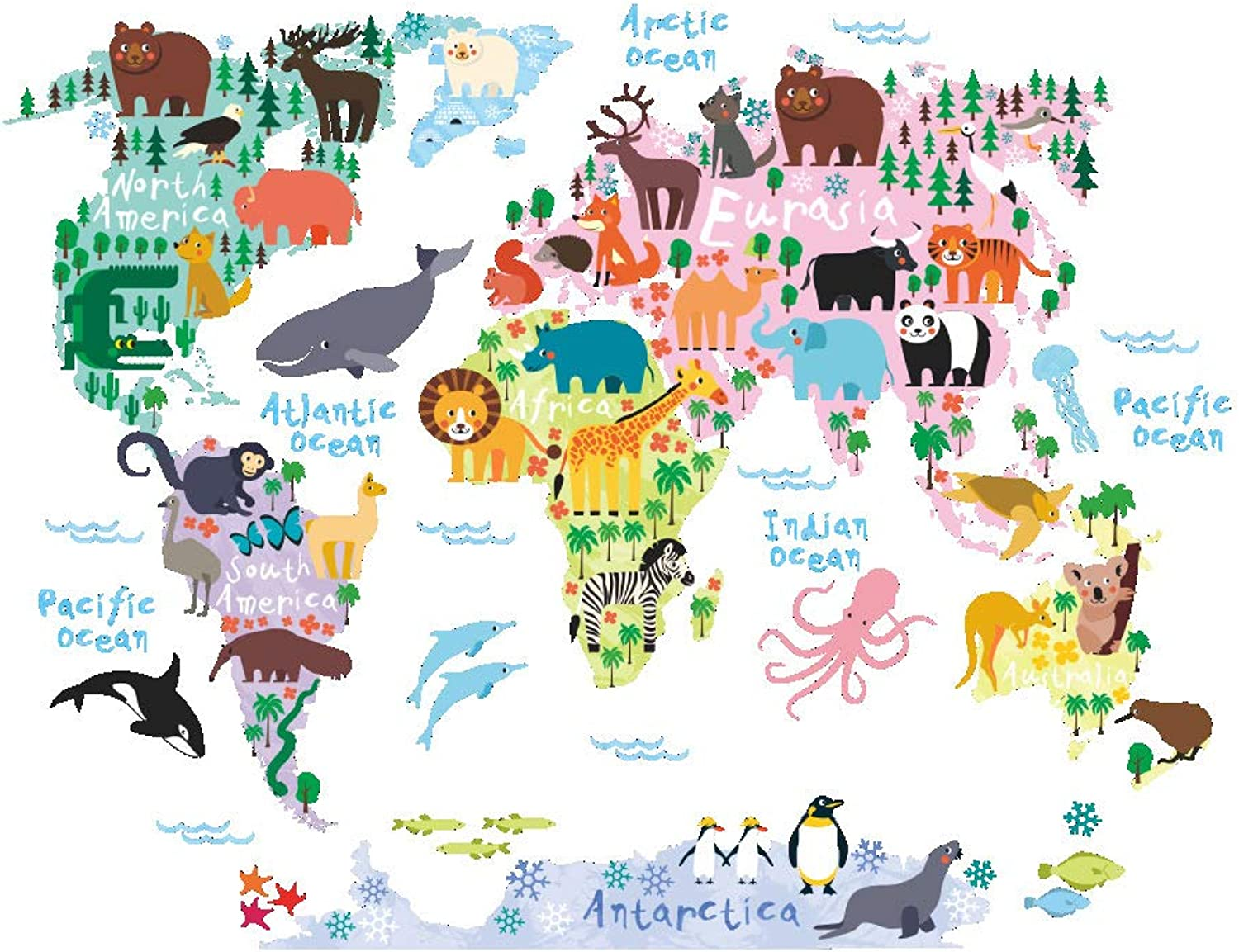 Wall Stickers, DIY Murals Variety Animals World Map Wall Decals Sticker for Kids Room Home Decoration (3PCS)