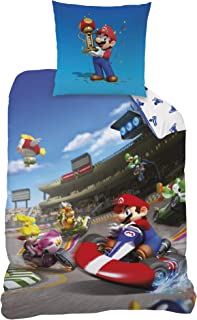 Juego de cama de Super Mario Kart 8, para cama infantil o juvenil, de Nintendo, reversible, funda de almohada de 80 x 80 cm y de edredón de 135 x 200 cm, 100% algodón