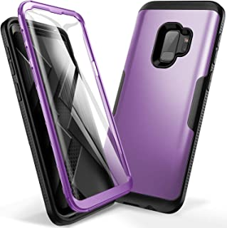 YOUMAKER Galaxy S9 Case, Metallic Purple with Built-in Screen Protector Heavy Duty Protection Shockproof Slim Fit Full Body Case Cover for Samsung Galaxy S9 5.8 inch (2018) - Purple/Black