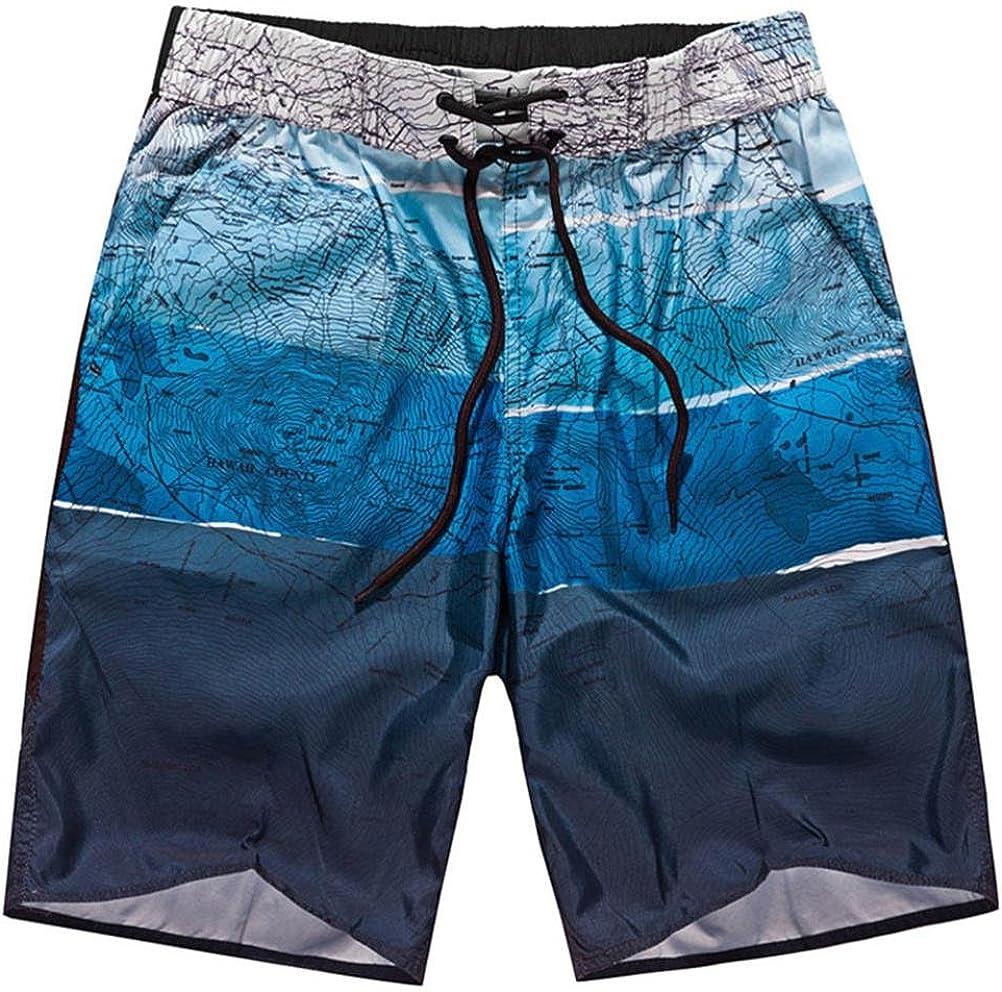 Men Summer Sports Work Casual Pants Printed Beach Shorts with Back Pocket Drawstring Elastic Waist No Lining
