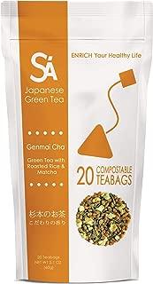 SA Japanese Green Tea Genmai Cha Teabags, 20Count (Pack of 3)