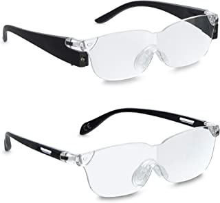 Zoom Vision 160% Magnifying Reading Glasses (with LED Light) & Original Zoom Vision (No Lights) for Men and Women, Non-Sli...