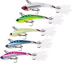 Fishing Lures Metal Fishing Jigs Sinking Spoons Hooks Ice and Saltwater Lures Bait for Trout Walleye and Flounder 5 Pack (...