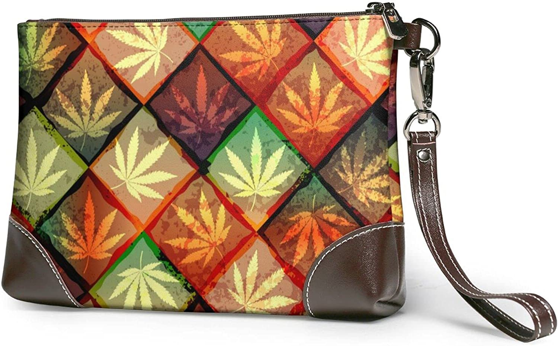 Hemp Leaf Geometric Ranking TOP12 Kansas City Mall Pattern Leather-Handbag Cowhide Real Ladies