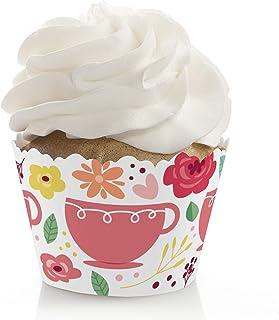 Big Dot of Happiness Floral Let's Par-Tea - Garden Tea Party Decorations - Party Cupcake Wrappers - Set of 12
