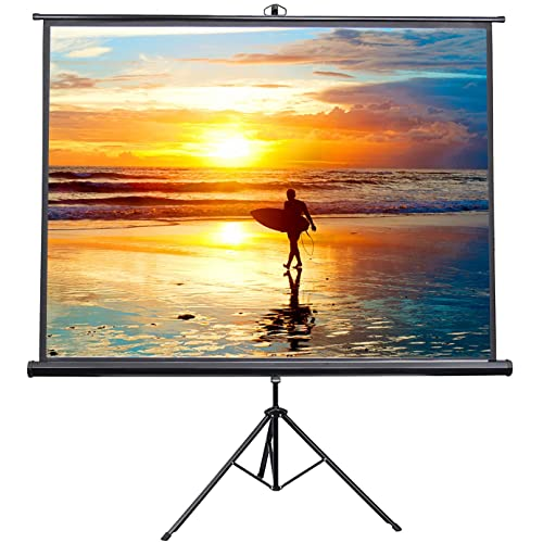VIVO 100  Portable Indoor Outdoor Projector Screen, 100 Inch Diagonal Projection HD 4:3 Projection Pull Up Foldable Stand Tripod (PS-T-100)