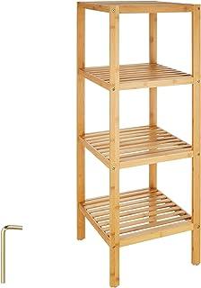 TecTake Étagère Debout Salle de Bain Bois de Bambou - diverses modèles - (4 Niveaux | 33x33x97cm | No. 401647)
