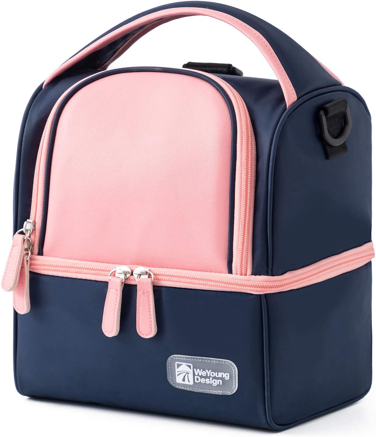 YSCP Insulated Dual Compartment Lunch Bag for Women/Men Durable Double Deck Reusable Shoulder Bento Box Container for Work/Picnic/Kids Back to School Gift Navy Blue Pink Leakproof Backpack Lunch Bags