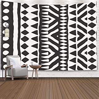 Pamime Home Decor Tapestry for Black White Tribal Pattern Doodle Elements Abstract Geometric Art Wall Tapestry Hanging Tapestries for Dorm Room Bedroom Living Room 80x60 Inches 200x150cm