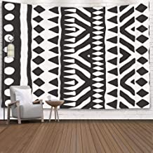 Pamime Easter Home Decor Tapestry for Black White Tribal Pattern Doodle Elements Abstract Geometric Dorm Room Bedroom Living Room 60x60 Inches(150x150cm) Bedspread InHouse