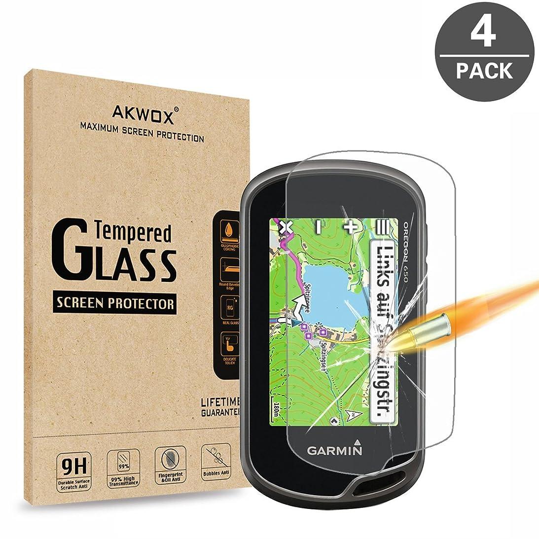 広告逮捕削減AKWOX [4 枚] ガーミン Garmin Oregon 600(t) 650(t) GPS ガラスフィルム, [ 耐衝撃] 9H硬度の液晶保護フィルム Garmin Oregon 600 600t 650 650t 強化ガラス