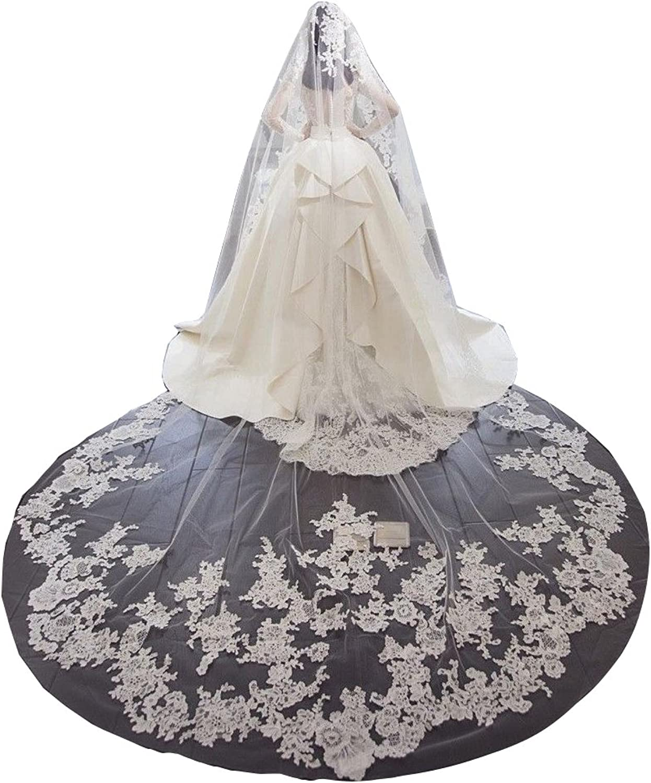 Cibelle 1 Tire Lace Veils for Bride Long Bridal Wedding Veil with Comb