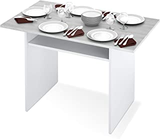 Habitdesign 0L4587A - Mesa Consola desplegable Mesa de Cocina Extensible Apertura Tipo Libro Color Blanco Artik y Cement...