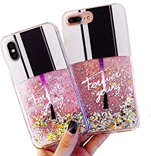 Sexy Nail Polish Bottle Dynamic Liquid Quicksand Glitter Stars Bling Protector Case Cover ~ Estuche Fundas Forros Cobertor Carcasa (iPhone Xs MAX 6.5