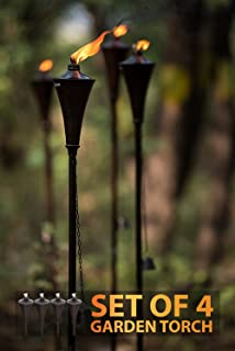 Deco Home (Set of 4), 64-inch Outdoor Garden Flame Conical Torch Brown Oil Rubbed Finish