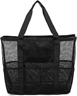 Mesh Beach Bag, iSPECLE Large Beach Tote Holds Toys Towels Lightweight Beach Bags and Totes for Women Beach Market Picnic With Waterproof Inside Pockets for iPad