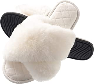 Slippers for Woman, Fuzzy Cross Band Slide House Slippers Soft Fluffy Faux Fur Open Toe Indoor Outdoor Shoes