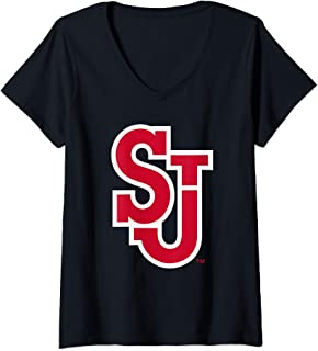 Womens St. John's University Red Storm NCAA RYLSTJ06 V-Neck T-Shirt