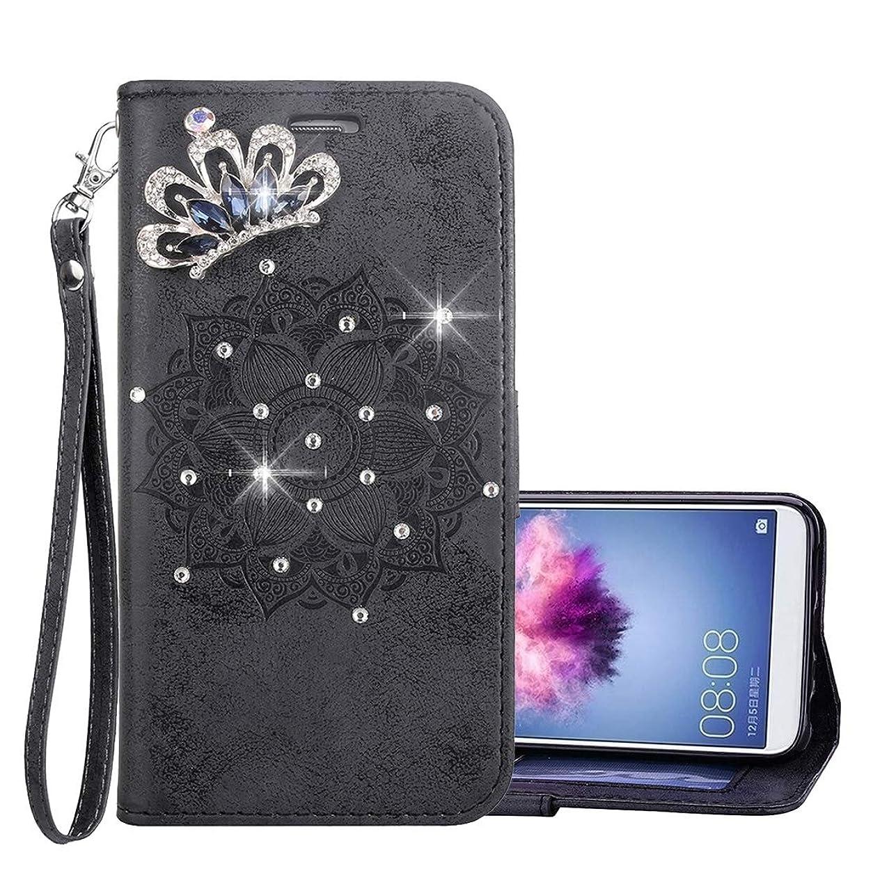 すみません活気づく民主党WTYD 電話アクセサリー Huawei P smart(Enjoy 7S)用カードスロット&ホルダー&財布&ストラップを使用して、マンゴガラのパターンクリスタルエンジニアリング水平方向フリップレザーケース 電話使用 (Color : Black)
