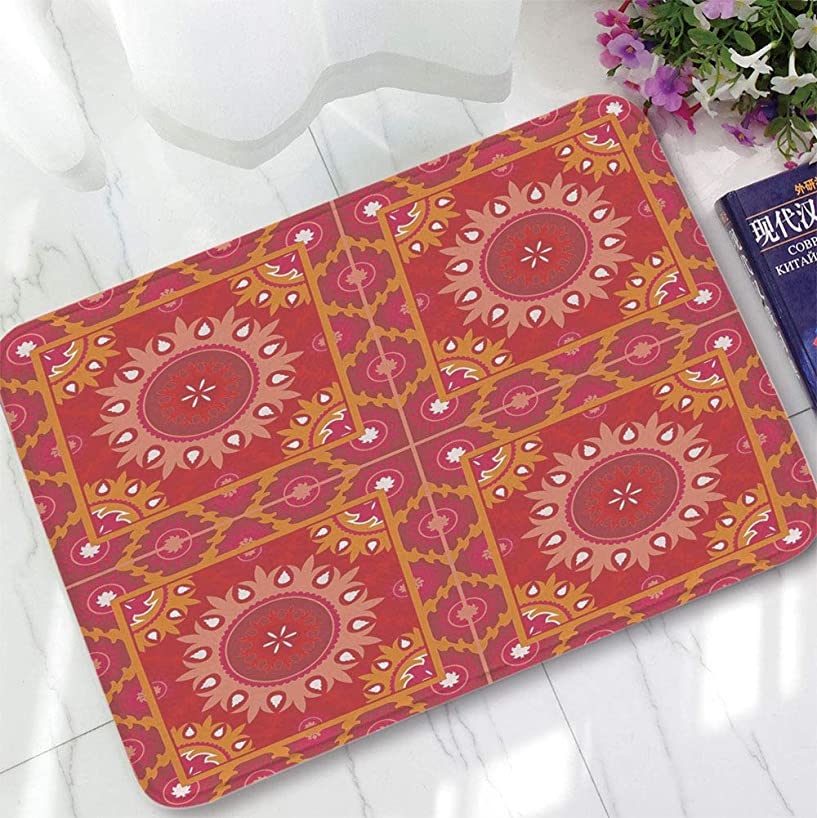 YOLIYANA Bath Mat,Red Mandala,for Dining Room Bathroom Office,15.75
