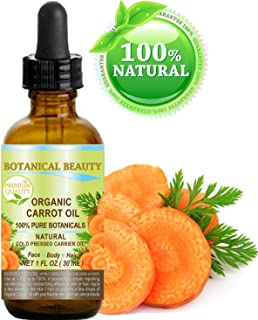 ORGANIC CARROT OIL 100% Natural / Pure Botanicals / Cold Pressed Carrier Oil 1 Fl. oz. -30 ml. For Face, Body, Hair and Nail Care. by Botanical Beauty