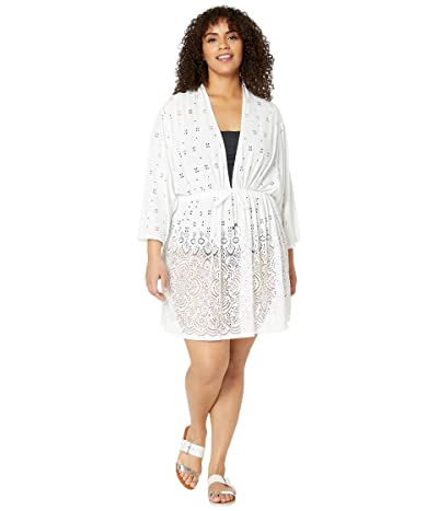 DOTTI Plus Size Gypsy Gem Drawcord Waist Tunic Cover-Up (White) Women