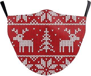 eBoutik Weihnachtliche Hässliche Pullover Designs   Stoff Gesichtsmasken mit Filterschlitz   Wiederverwendbare & waschbare und atmungsaktive Gesichtsbedeckungen (Rentier & Bäume)