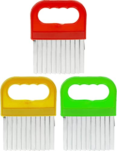new arrival French Fry Chopper - Pack of 3 - Carrot Wavy Knife 2021 - Vegetable Steel Crinkle Tool - Potato Stainless Handle popular Cutter online