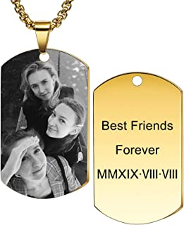 MeMeDIY Personalized Dog Tag Necklace Engraving Name Photo Customized with Picture Pendant Necklace for Men Women Stainless Steel Jewelry, Bundle with 4 Items: 2 Chains, Keychain, Silencer (5 Colors)