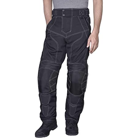 Sterling Sports/®Men Textile Waterproof Motorbike Motorcycle Thermal Armoured Trouser Cargo Pant Black Cameo Grey Green Black Rubber, 32Wx32L