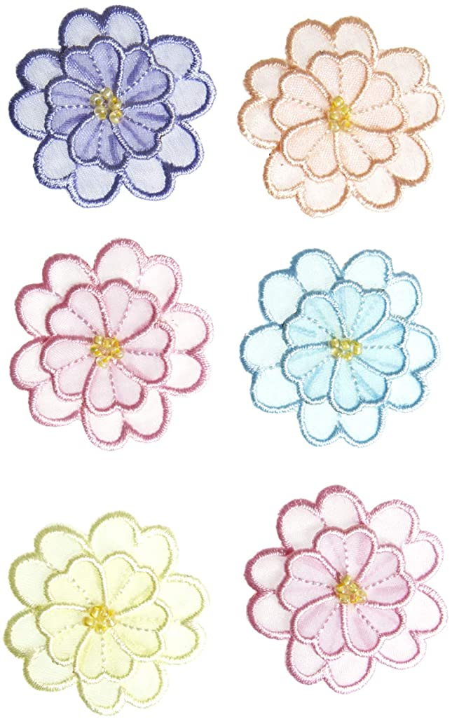 Simplicity Multicolor Sheer Flowers Applique Clothing Iron On Patches, 6pc, 1.5'' x 1.5