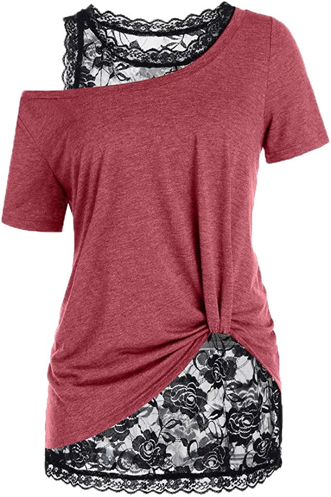 aihihe Women's Lace Blouses Plus Size Short Sleeve T-Shirts Casual Off Shoulder Tops Shirt Tops Blouses Tunics