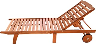 Vifah V255 4 Back Levels Outdoor Wood Single Chaise Lounge for Outdoor Relaxation, Pool, Spa, Beach, Sunbathing and More N...