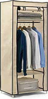 Hododou Armoire de rangement simple en toile avec rail de suspension pliable pour vêtements, sacs, jouets, chaussures, sal...