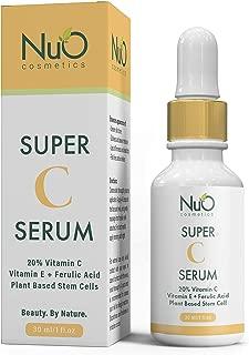 NuOrganic Super C Serum 20% Vitamin C Serum for Face | Hyaluronic Acid, Plant-Based Stem Cells, Ferulic Acid, Vitamin E, MSM | Skin Brightening & Antioxidant-Rich Serum for Women & Men ● 30ML