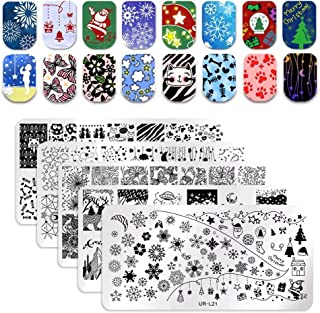 UR SUGAR 5Pcs Nail Art Stamping Plates Set Christmas Snowflake Butterfly Flower Patterns Image Templates Kit Stainless Steel Stamping Template Image Plate for DIY Manicure Print